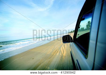 beach drive on allroad car