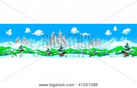 Landscape with snow and mountains. Vector illustration with measures: 6144x1536 pixels, adaptable to iPad screen. The sides repeat seamlessly for a possible, continuous animation.
