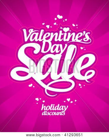 Valentine`s day sale banner.