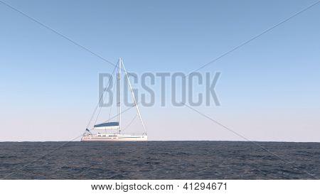 modern yacht in the ocean