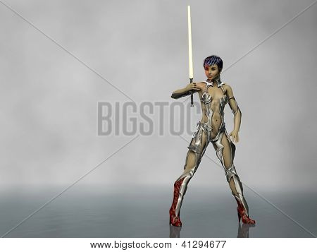 future warrior girl with yellow lightsaber