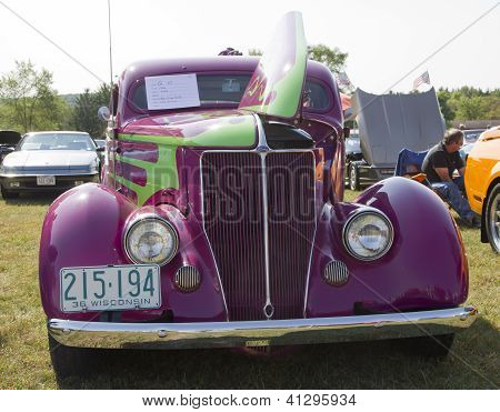 Purple 1936 Ford Coupe Front View