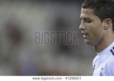 VALENCIA - JANUARY 20: Cristiano Ronaldo during Spanish Soccer League match between Valencia CF and Real Madrid, on January 20, 2013, in Mestalla Stadium, Valencia, Spain