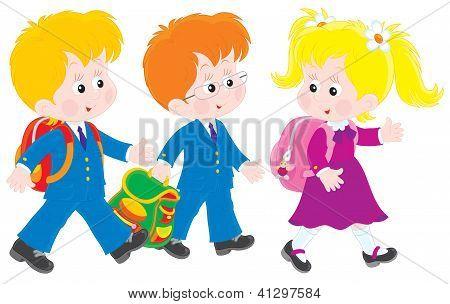 Schoolboys and schoolgirl