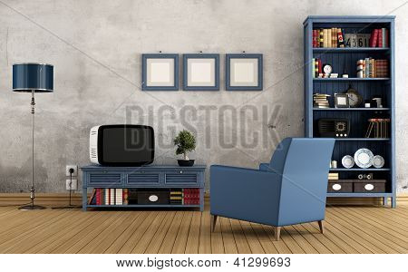 Blue Vintage Living Room