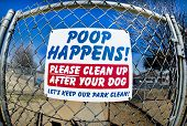 stock photo of dog poop  - No poops sign at dog park on  gate - JPG