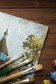 Постер, плакат: Кисть и живопись на дерево фона