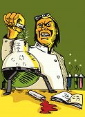 pic of mad scientist  - Illustration of a mad scientist holding a test tube - JPG