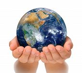 image of take responsibility  - Hands of woman holding globe - JPG