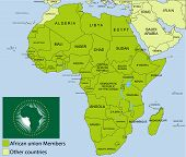 African Union map and surroundings