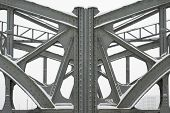stock photo of girder  - Metal Girders on a Bridge Steel Girders On A Metal Truss Bridge - JPG