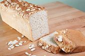 picture of fresh slice bread  - Fresh baked loaf of gluten free almond bread - JPG