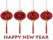 image of chinese new year 2013  - Happy Chinese Lunar New Year of the Snake 2013 Calligraphy with Spring and Happiness Text on Red Lanterns Isolated on White Background Illustration - JPG