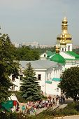 Worshippers are visiting Kiev Pechersk Lavra - main sacred orthodox christian monastery of Kiev