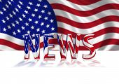 foto of current affairs  - 3D Shiny USA News graphic text in American colours with Stars and Stripes billowing in background - JPG
