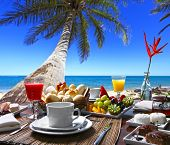 stock photo of buffet lunch  - breakfast room on the beach - JPG