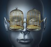 stock photo of x-rated  - Forbidden access or denied viewing of visual material with a human head with bird cage prison shaped eye glasses as symbols of being imprisoned and trapped - JPG