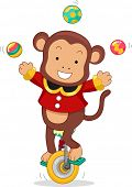 stock photo of juggler  - Cartoon Illustration of a Circus Monkey riding a Monocycle while juggling balls - JPG