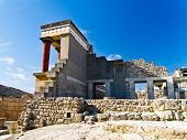 stock photo of minos  - This is a back side view of a northern entrance to the palace that was a ceremonial and political centre of the Minoan civilization and culture 3500 years ago at the island of Crete - JPG