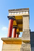 image of minos  - Profile view of the north entrance to the Palace of Knossos decorated with bull fresco - JPG