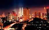 stock photo of klcc  - cityscape of kuala lumpur at night - JPG