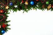 stock photo of christmas wreaths  - Christmas frame for your congratulations and best wishes - JPG