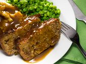 picture of meatloaf  - Close-up view of a homemade meatloaf meal