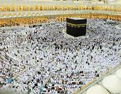 MAKKAH - JULY 21 : A crowd of pilgrims circumabulate (tawaf) Kaaba on July 21, 2012 in Makkah, Saudi