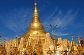 stock photo of yangon  - Details of the Shwedagon Paya in Yangon Myanmar (or Burma)