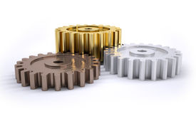 image of bronze silver gold platinum  - Three gears bronze silver and gold as a poduim concept of winning - JPG