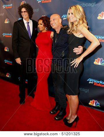 """NEW YORK-SEP 11: (L-R) Judges Howard Stern, Mel B., Howie Mandel and Heidi Klum attend pre-show red carpet for """"America's Got Talent"""" at Radio City Music Hall on September 11, 2013 in New York City."""