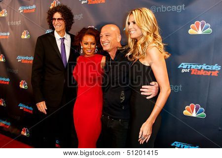 "NEW YORK-SEP 11: (L-R) Judges Howard Stern, Mel B., Howie Mandel and Heidi Klum attend pre-show red carpet for ""America's Got Talent"" at Radio City Music Hall on September 11, 2013 in New York City."
