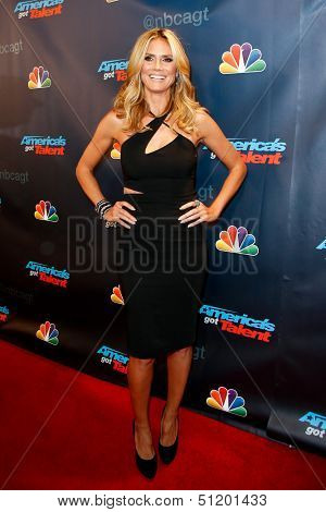 "NEW YORK-SEP 11: Judge and supermodel Heidi Klum attends the pre-show red carpet for NBC's ""America's Got Talent"" Season 8 at Radio City Music Hall on September 11, 2013 in New York City."