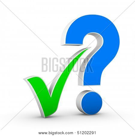 red question mark and green check mark