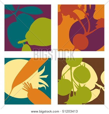 abstract vector fruit and vegetable designs set 2