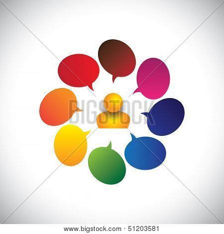 Concept Vector Of A Man With Opinions, Questions, Confusion Or Ideas
