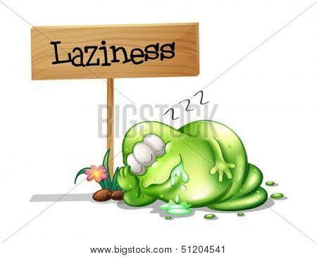 Illustration of a lazy monster sleeping near the wooden signboard