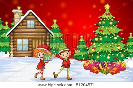 Illustration of the two playful dwarves near the christmas trees