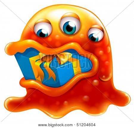 Illustration of a monster swallowing a gift on a white background