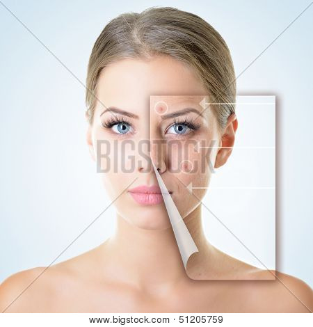 portrait of beautiful woman with problem and clean skin, aging and youth concept, beauty treatment