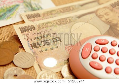 Japanese Yen (ten Thousand Money ) With Calculator