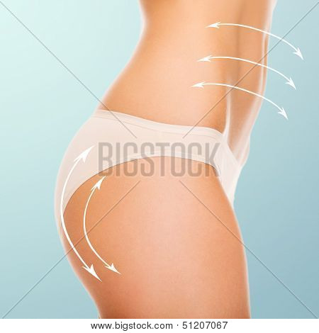 health and beauty - woman in cotton underwear showing slimming concept