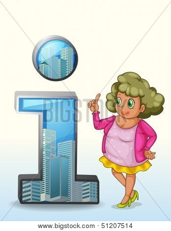 Illustration of a woman beside a number one symbol with buildings on a white background
