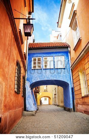 Bridge On Narrow Street In Warsaw