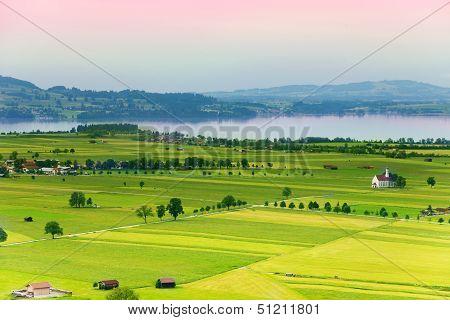 Village And Lake Panorama