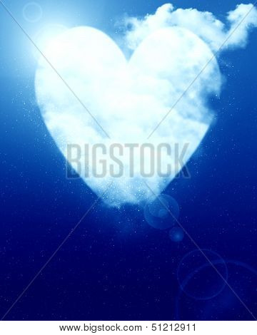 Heart Shaped Moon In Blue Sky