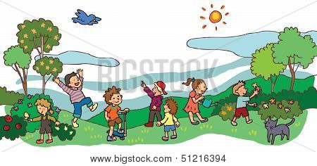 Children Having A Good Time In Spring Landscape (vector)