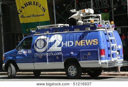 WCBS Channel 2 van in midtown Manhattan