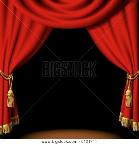 Theater Stage Curtain Icon - Royalty Free Clip Art Picture