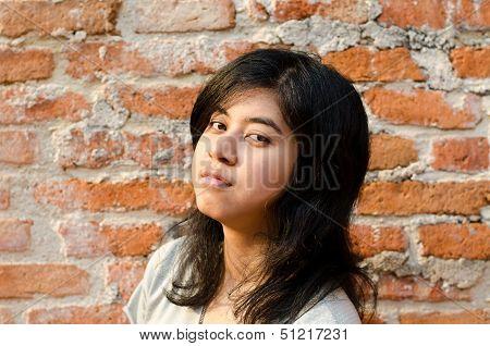 Pretentious Girl Over Brick Wall